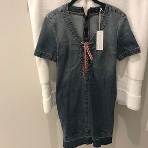 NWT Level 99 Tie Up Denim/Jean Dress Size XS